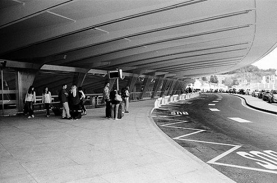 Desembarque na área externa do aeroporto