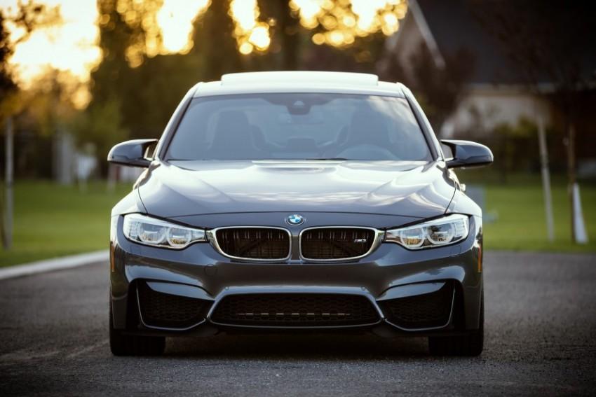BMW cinza parada em um campo