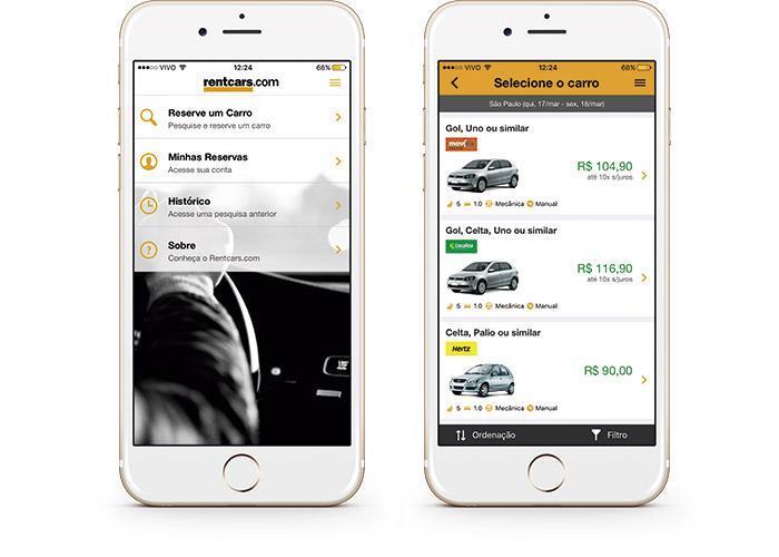Aplicativo de aluguel de carros para iPhone