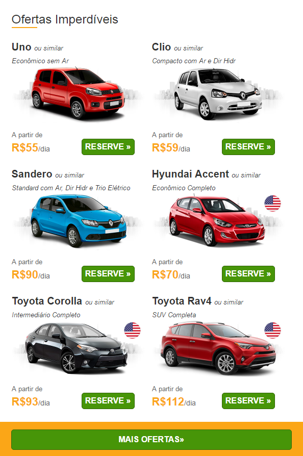 Ofertas para alugar carros 10-03-17