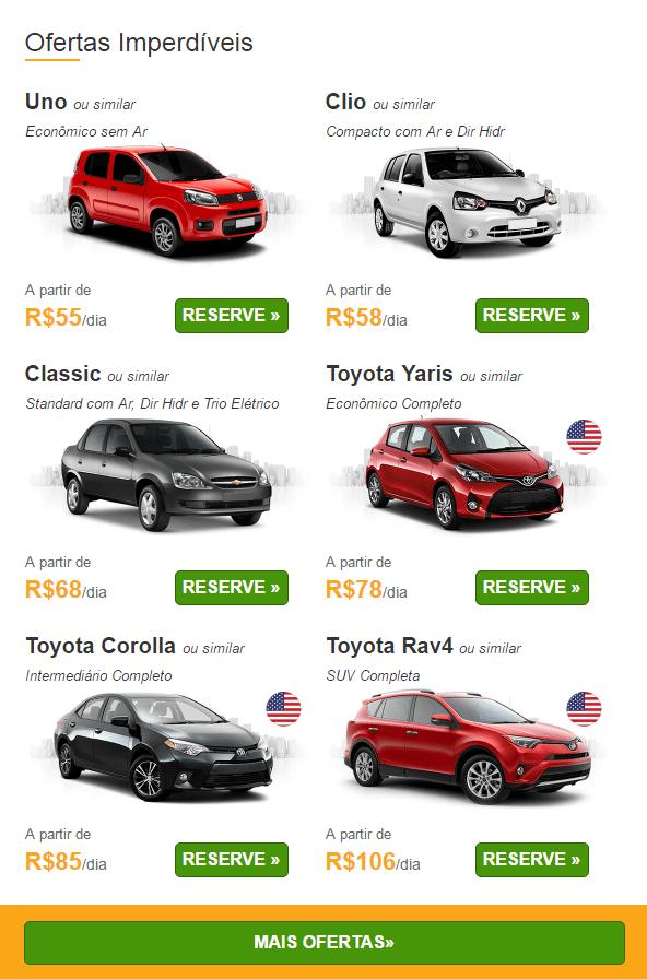 ofertas para aluguel de carros 24-04-17