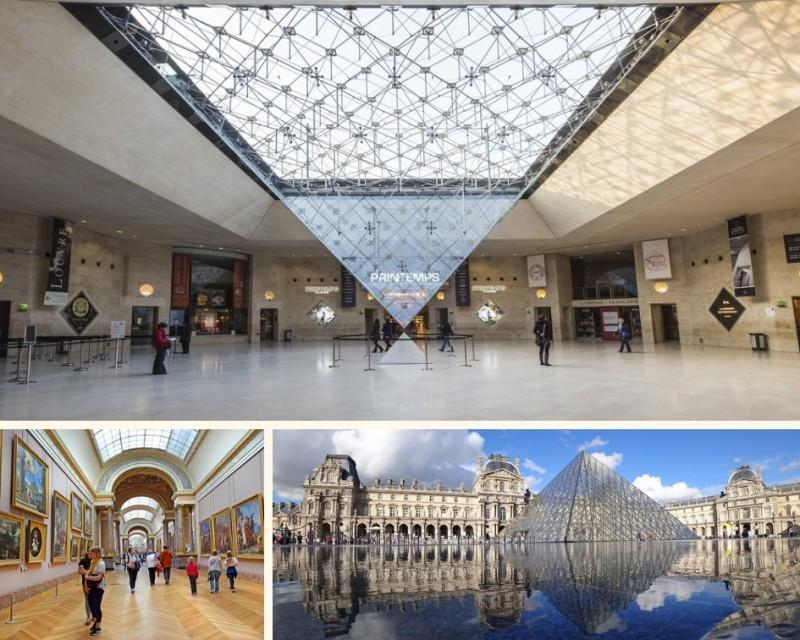 Pirâmide e interior do Museu do Louvre em Paris