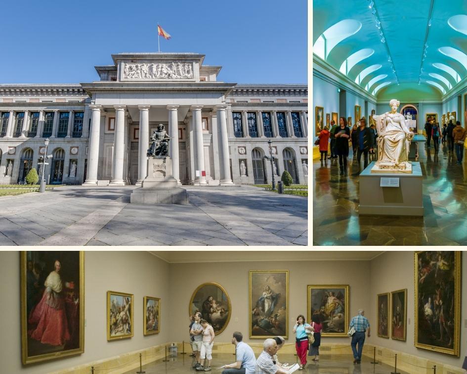 Exterior e exposições do Museu do Prado em Madri