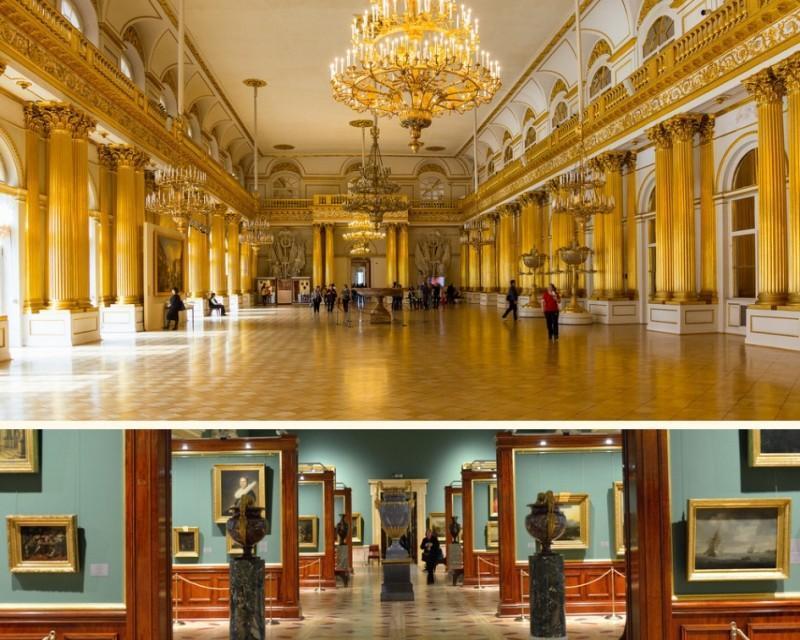 Exposições e arquitetura do Museu Hermitage em São Petersburgo