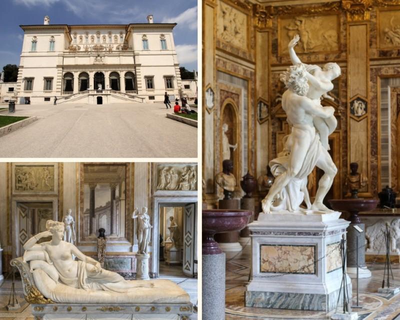 Exterior e esculturas expostas na Galleria Borghese em Roma