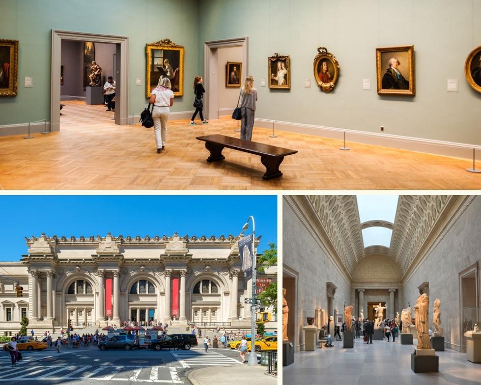Exterior e galerias do Metropolitan Museum of Art em Nova York