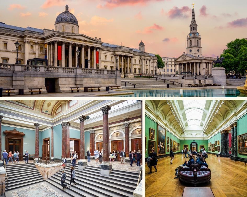 Fachada e interior da National Gallery em Londres