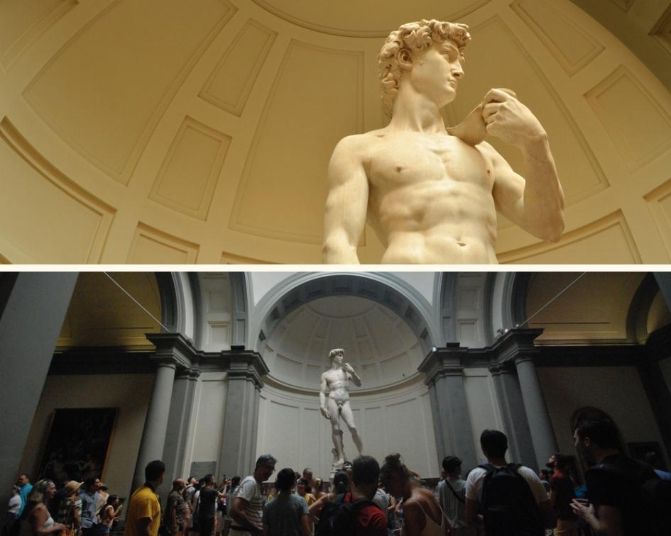 Davi e visitantes da Galeria da Academia de Belas Artes de Florença