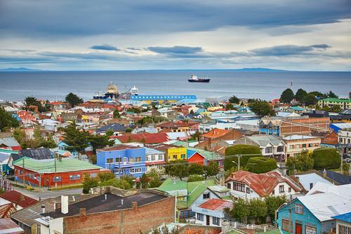 Punta Arenas, Chile. Casas coloridas.