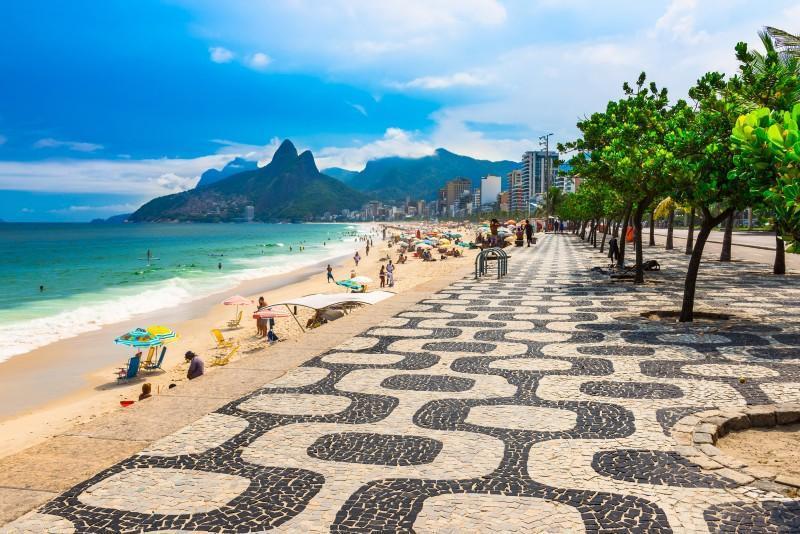 sidewalk of ipanema beach in rio de janeiro