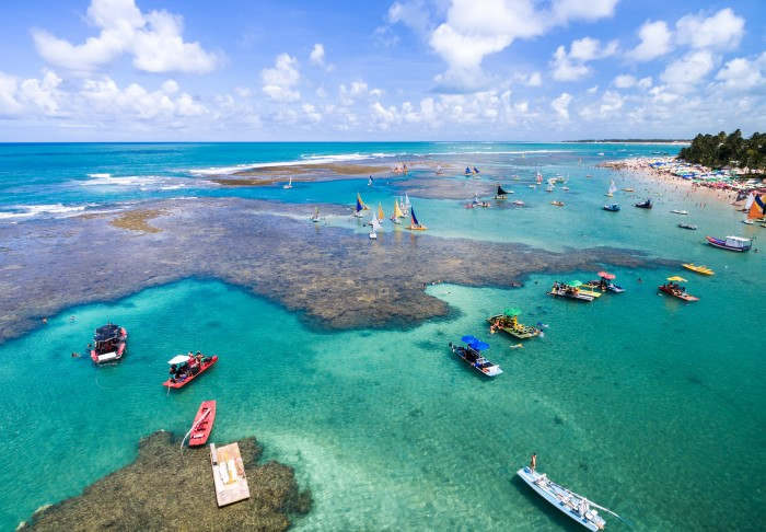 aerial view of natural pools in porto de galinhas brazil