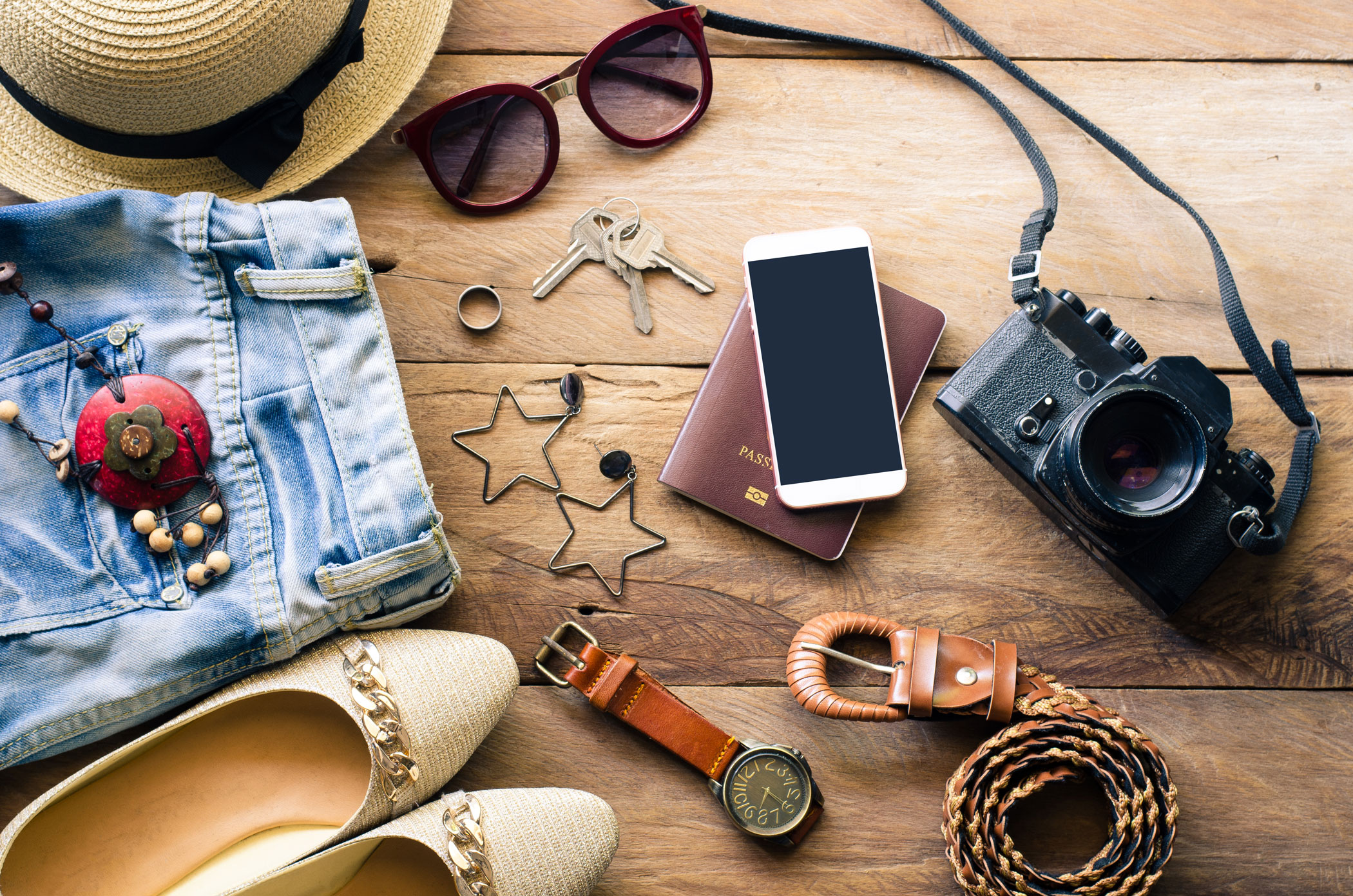 travel items on a table