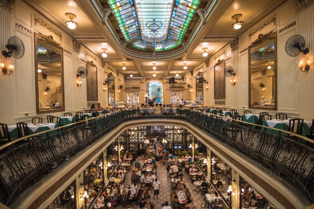 interior of confeitaria colombo from second floor