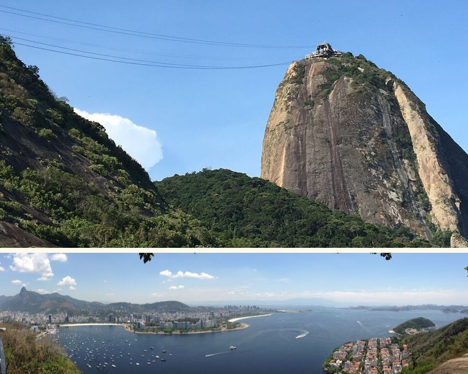 montage of panoramic view from the top of sugarloaf montain