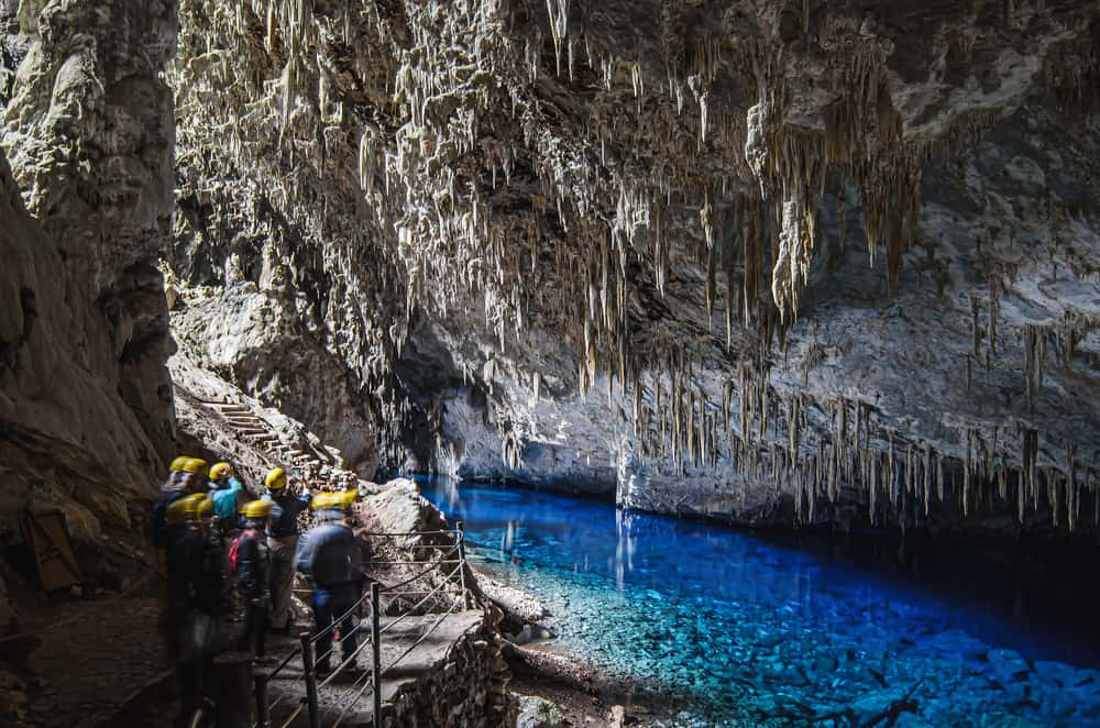 inside the blue lake cave in bonito brazil