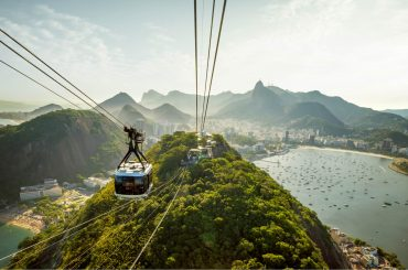 sugarloaf mountain and cable car in rio de janeiro brazil