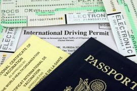 passport, international driver's permit and airplane tickets