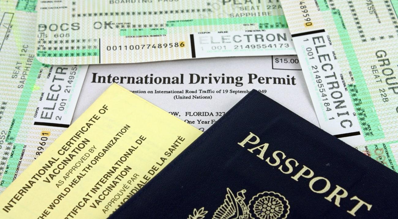 passport, international driver's permit and airplane tickets