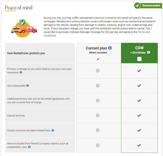 screenshot of the rentalcover option available on rentcars.com