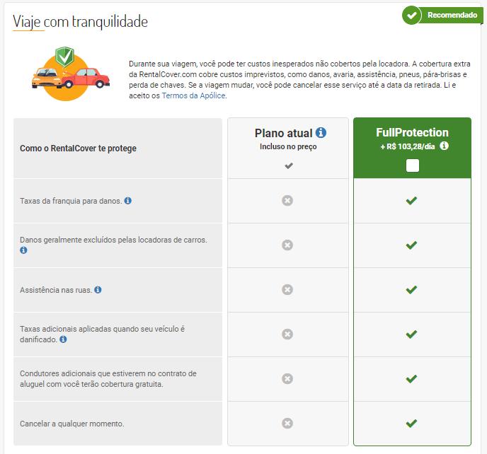 opção rentalcover em detalhes do carro rentcars.com