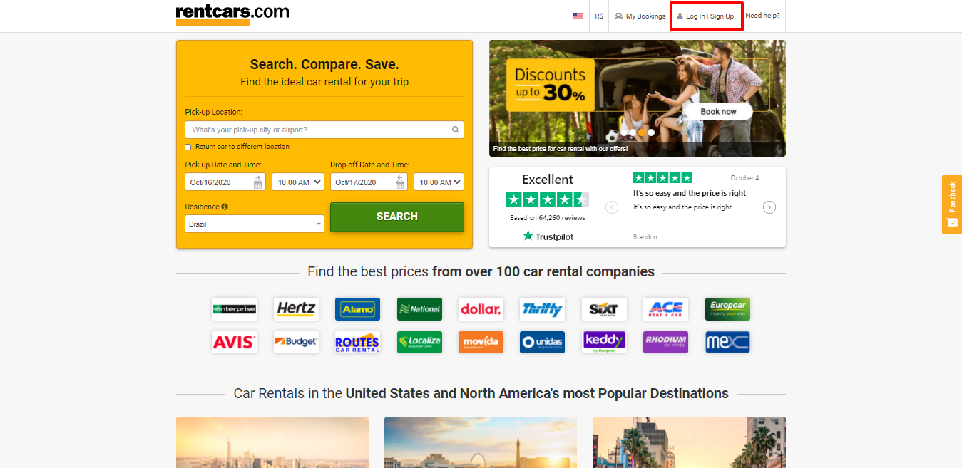 rentcars.com homepage
