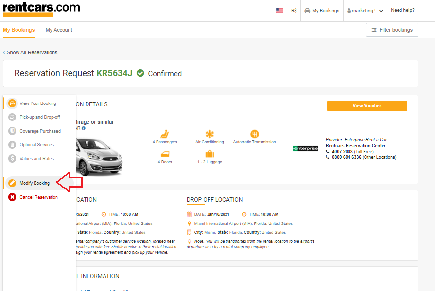 modify booking button rentcars.com