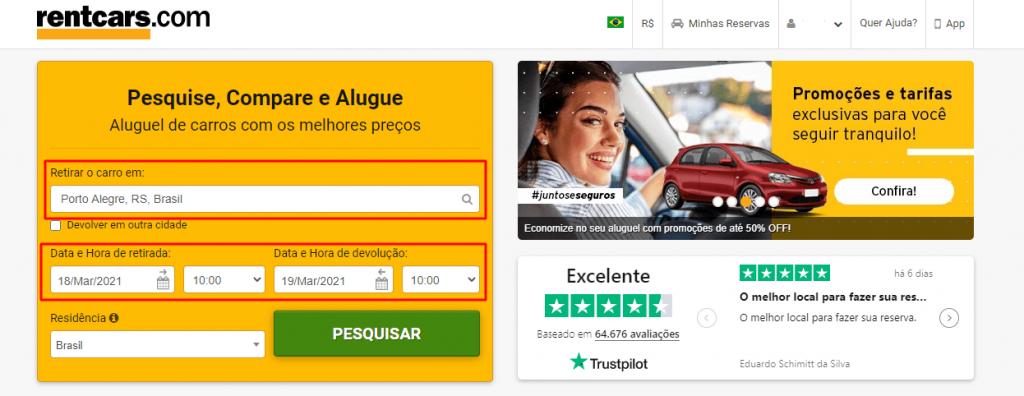 campo de busca aluguel de carro no site rentcars.com