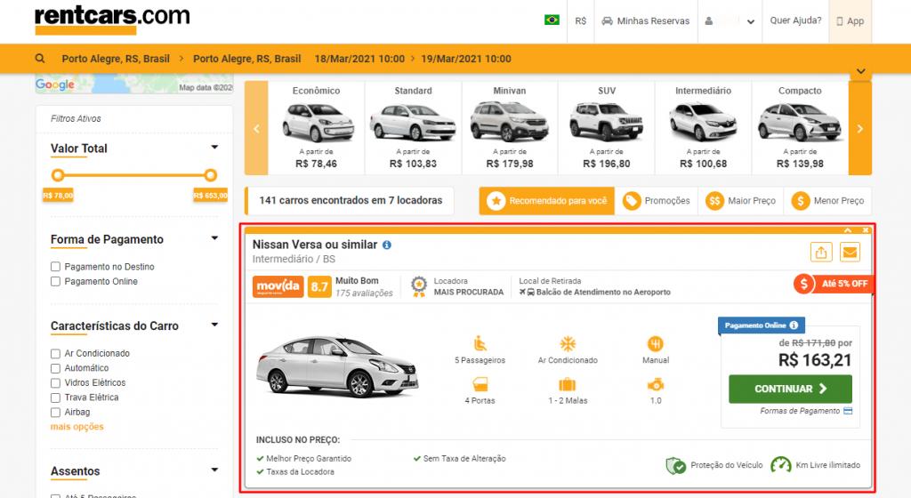 oferta de aluguel de carro no site rentcars.com