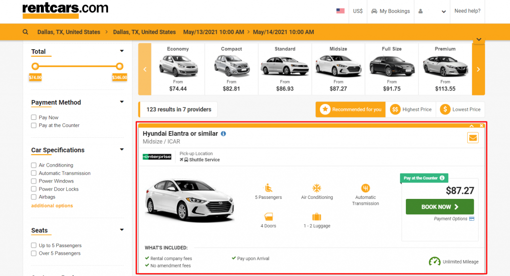 choose your car rental category