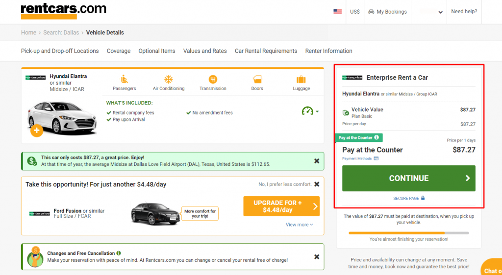 confirm car rental booking information