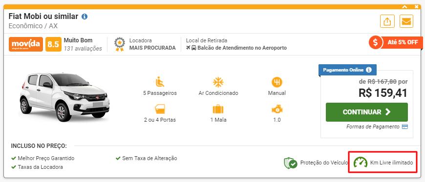 oferta de aluguel de carro com km ilimitado no site rentcars.com